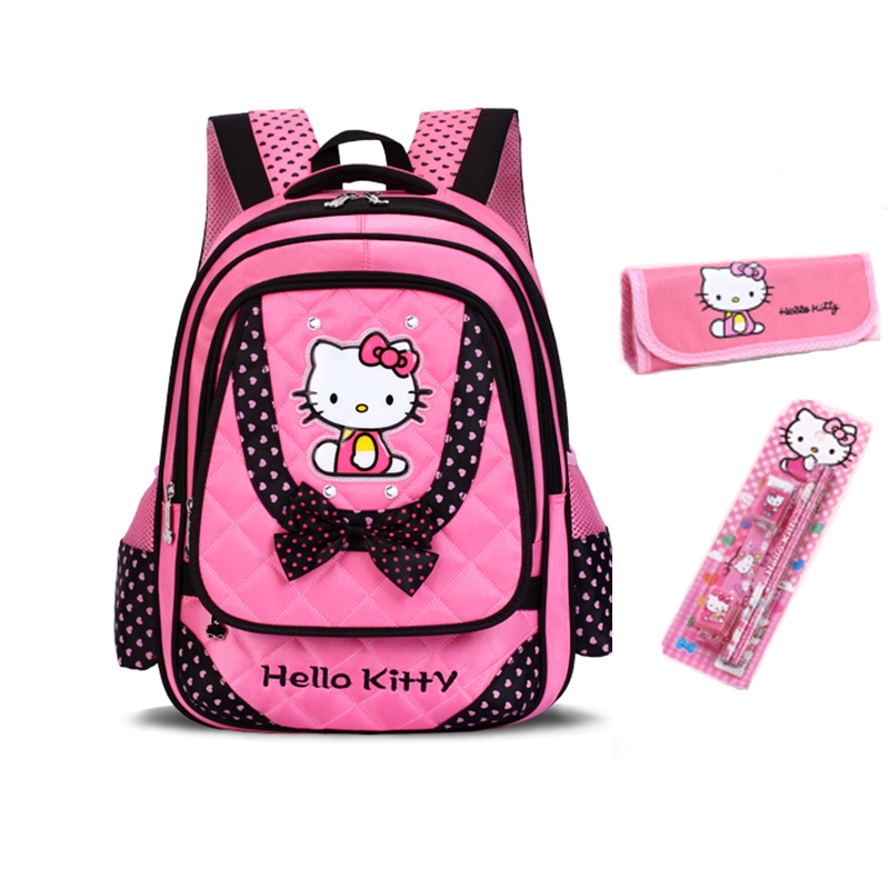Child School Bags Primary School Students Schoolbags Girls Female Kids Backpacks Mochila Infantil Cat Bow Girl Book Bag Bolsa(China (Mainland))
