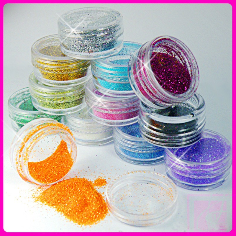 12 Color Mix UV Gel Glitter Dust Powder Nail Art Tip Decoration DIY Make Up Nail Beauty Decoration(China (Mainland))