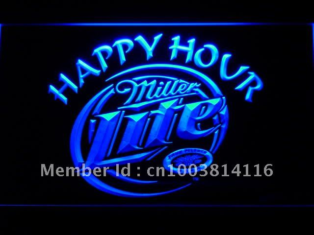 605-b Miller Lite Happy Hour Beer Bar LED Neon Light Sign(China (Mainland))