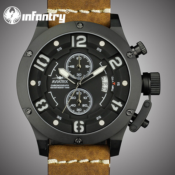 2015 AVIATOR INFANTRY Luxury Military Design Men's Date Quartz Wrist Watch Army Style Leather Bands Water Resistant 100M BOX(Hong Kong)