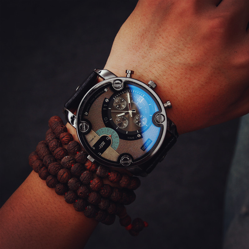 Blue Glass Big Dial Black Leather Quartz Men Watches Fashion Casual Watch Sports Out Door Military