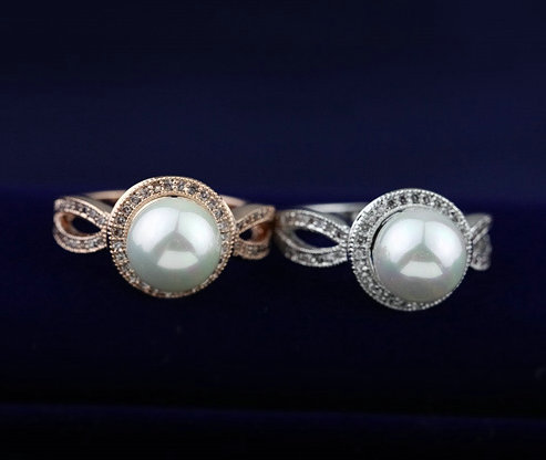 NEW 18K Gold Plated Rhinestone Simulated Pearl Retro Jewelry Rings Top Quality Wholesale free shipping(China (Mainland))