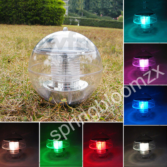 Outdoor Solar Power Floating Rotate 7 Colors Changing Led Light Ball Globe Lamp Pond Pool Lake