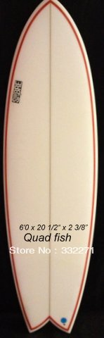 5'7 surfboard PU Sabre Quad Fish double pinline quad fin