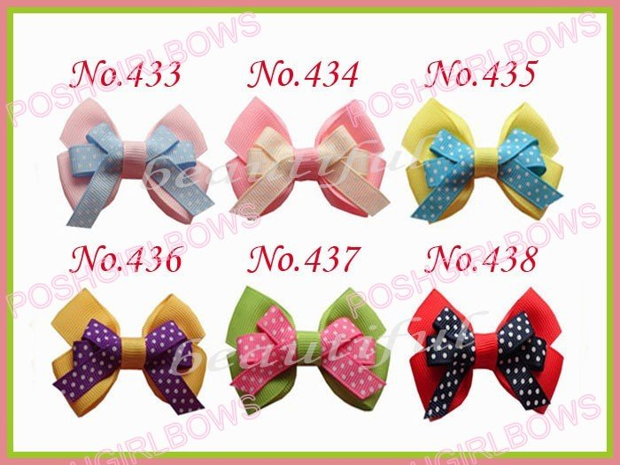 free shipping 65ps new 2.5/2.75 fashion Boutique hair bows with clips mix color baby hair clips(China (Mainland))