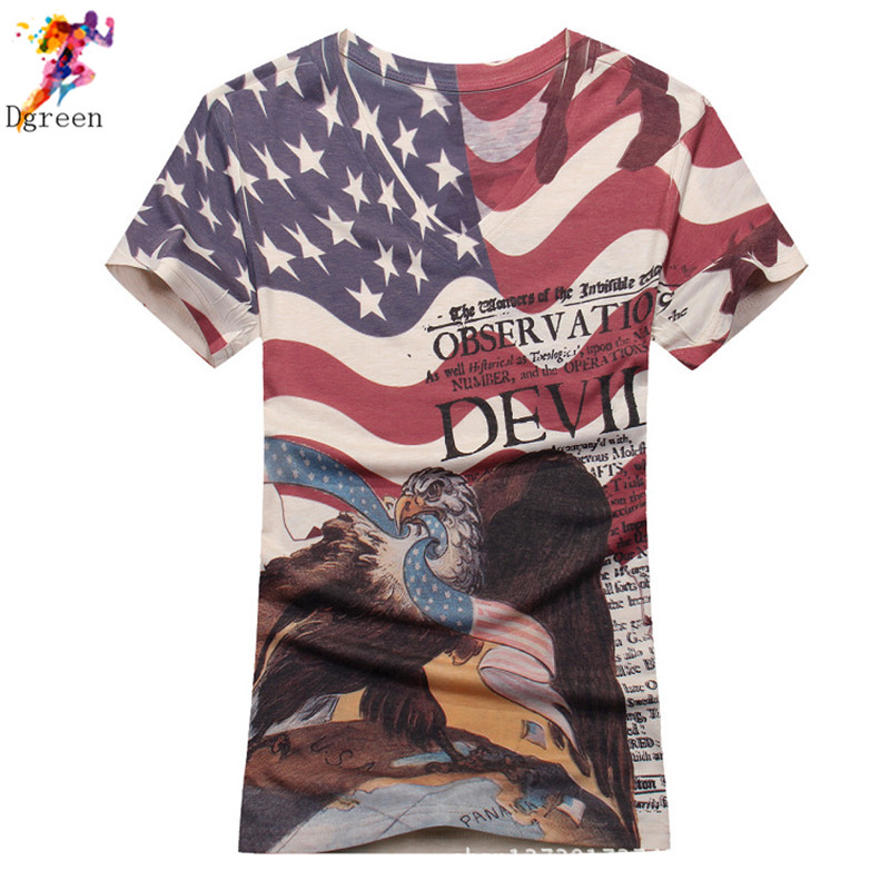 Men's T shirt Fashion 2016 Summer V-neck Eagle American flag Printed 3d Men's T-shirts Rock hip hop streetwear fashion Tee shirt(China (Mainland))
