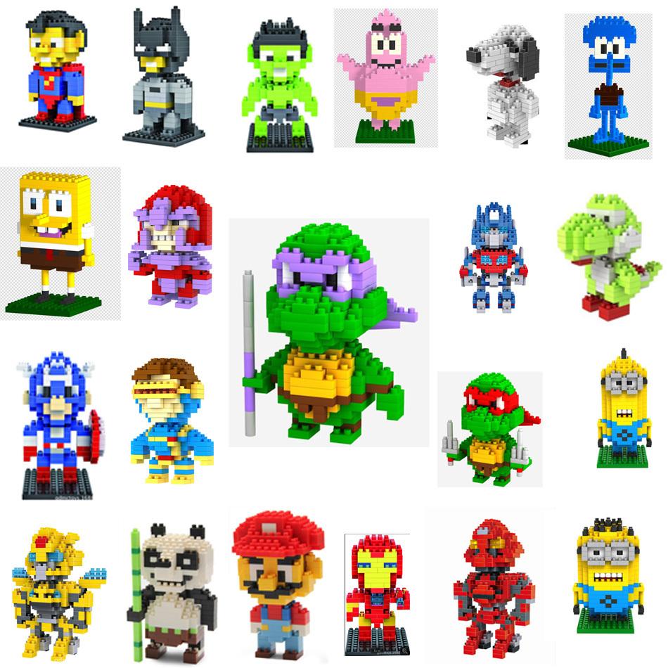 With Box ! LOZ Blocks Diamond Building Blocks Action Figure Super heroes Minions 3D Bricks Toys / learning Education toys(China (Mainland))