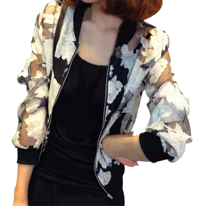 Long-Sleeved Organza Flowers Zipper Women Coat Short Paragraph Cardigan Autumn Clothes(China (Mainland))