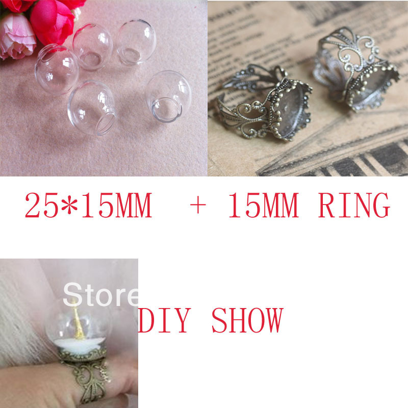 NEW!!Glass Cover Glass Bulb Vial &Antique Crown Finger Ring Set DIY Glass Vial Ring (25mm Ball 15mm bottle neck(China (Mainland))