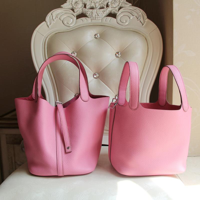 100% Hand Stitching Full sew-on picotin lock 18cm Medium basket bucket bag pink 5p pink women bucket bags<br><br>Aliexpress