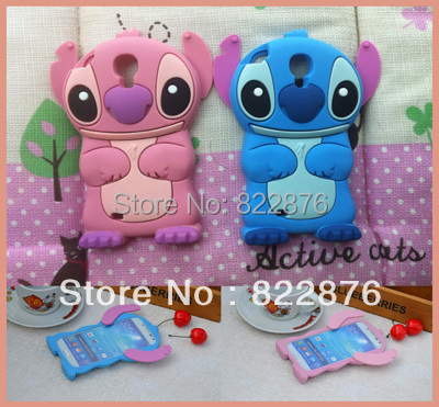 10pcs/lot Freeshiping 3D Cute Stitch Silicone Cases Silicon lilo cover for Samsung Galaxy S4 i9500