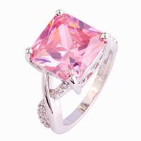 Wholesale Fashion Women Princess Cut Pink Sapphire & White Topaz 925 Silver Ring Size 6 7 8 9 10 Sweet Love Style Jewelry Gift
