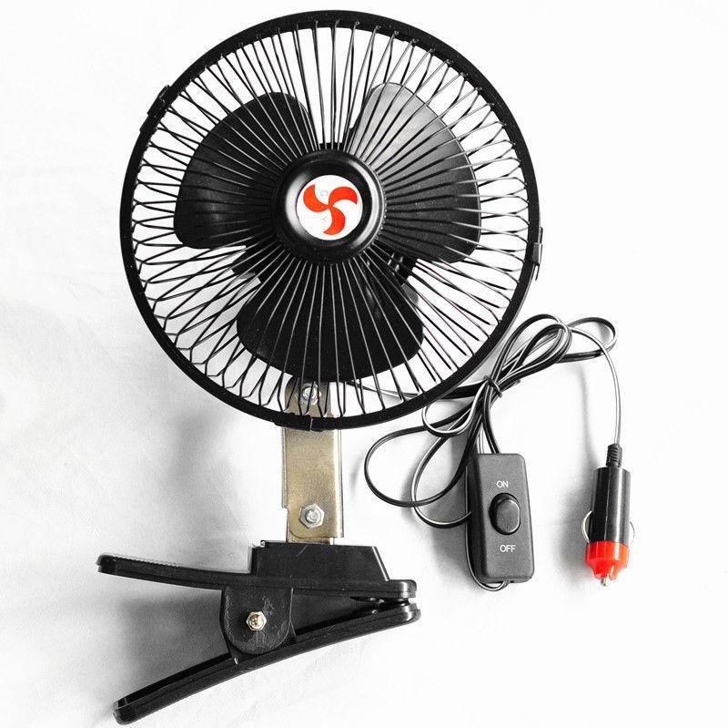 "New 6"" 12 Volt Car Cooling Fan Truck Fan With Clip Cigarette Lighter Plug Black(China (Mainland))"