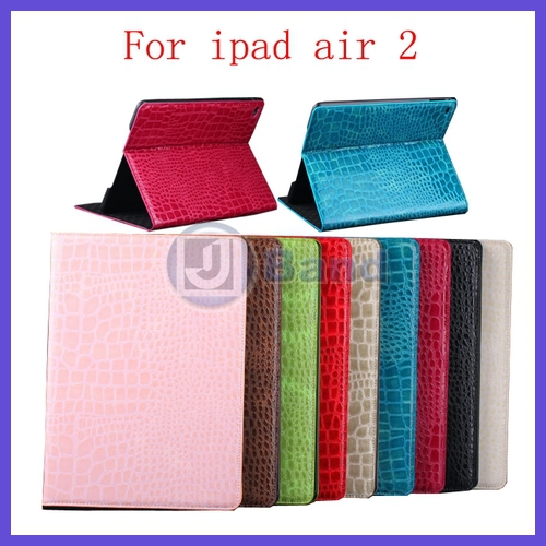 Luxury CROCO leather case For ipad Air 2 ipad 6 Anti-skid Rubber Stand Leather smart case(China (Mainland))