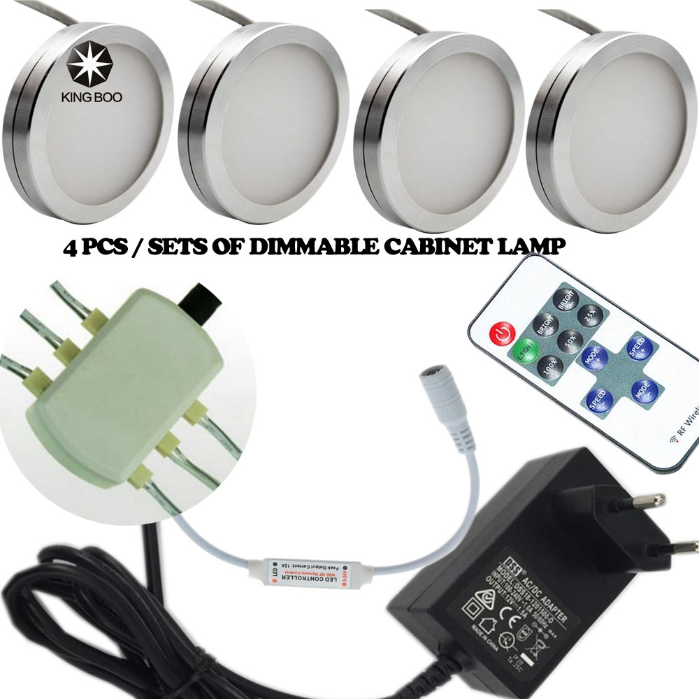 4pcs sets of Dimmable 12V DC 2.5W LED Under Cabinet Lighting Puck Light for Kitchen,Counter LED Cabinet light()
