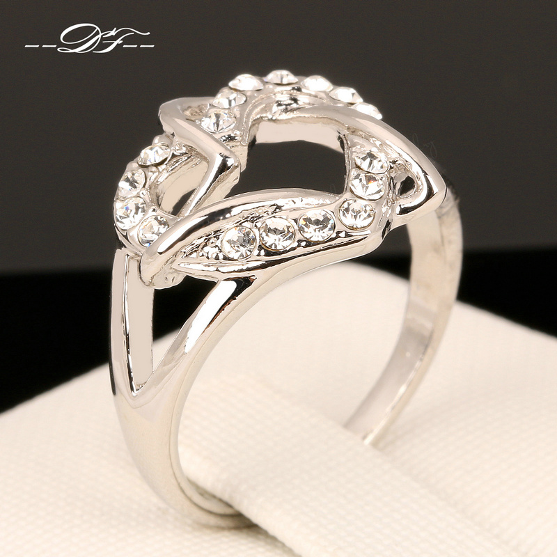 Elegant Love Heart CZ Diamond Engagement Finger Rings White Gold Plated Fashion Brand Jewellery/Jewelry For Women DFR342(China (Mainland))