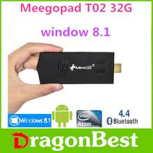 MeeGoPad T02 Windows 8.1 Smart TV Stick with Bing Atom Quad Core Z3735F 2G/32G HDMI WiFi Bluetooth 4.0 TV Dongle Mini PC f