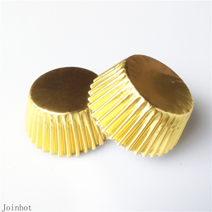 Hot 100 pcs/lot Pure Color Gold Paper Cupcake Liners Cupcake wrappers Cake Decorating Tools Baking Cups(China (Mainland))