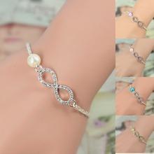 2015 Best Bridesmaid Gift Infinity Bracelet New Fashion Heart Rhinestone Imitation Pearl Silver Plated Bracelet  IB431-IB436(China (Mainland))