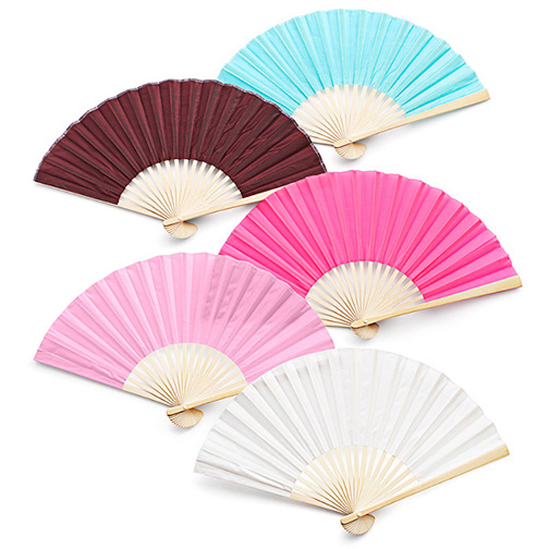 50Pcs Free Shipping Wholesale Personalized Logo On Bamboo Silk Folding Hand Fan Customized Wedding Favors For Guests+Organza Bag(China (Mainland))