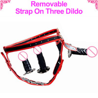 Removable Strap On Dildo Lesbian Sex Toy Three Dildo With Strap ons harness Strapon Penis strap