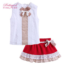 Girls Summer Clothes Set Kids White Top and Girl Lace Red Skirt with Bow Children Suits Clothing Set Retail G-DMCS906-796(China (Mainland))