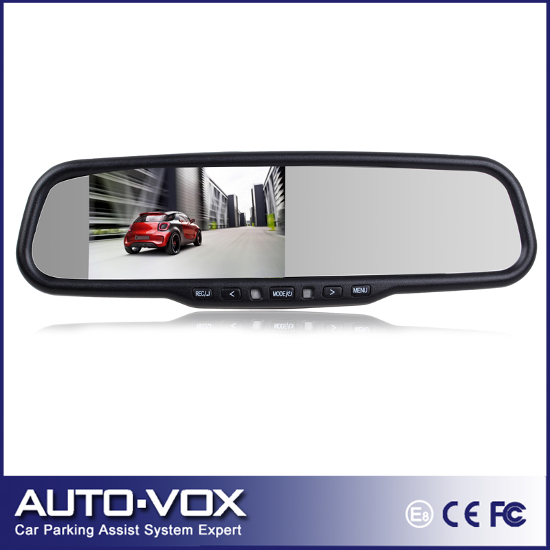 Auto-adjust Brightness 4.3'' Tft Full HD 1080P Car Backup Rearview Mirror Monitor Built-in Video Recorder DVR With G-sensor(China (Mainland))