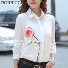 BORRUICE Chiffon Blouse 2016 Fashion Women Blouses Shirt Plus Size Women Clothing White Rose Print Shirts Women Blouses Blusas(China (Mainland))