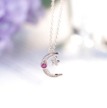 2016 New Fashion Ruby Jewelry Sailor Moon Star 925 Sterling Silver CZ Diamond Choker Necklaces & Pendants For Ladies D201