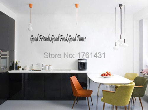 Good Food Friends Times Wall Decals Vinyl Stickers Home Decor Inspirational Kitchen Wall Stickers Decorative Vinyl Black(China (Mainland))