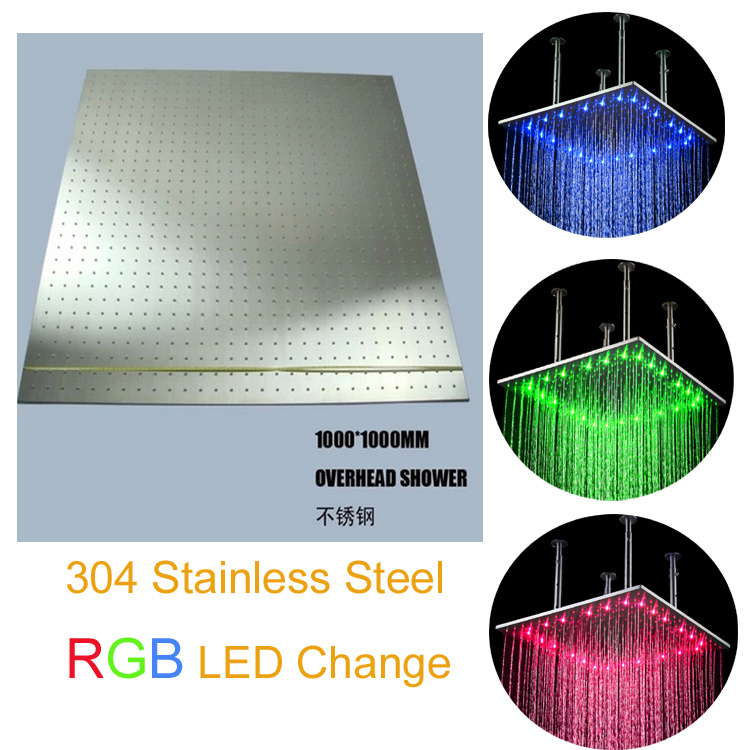 100*100cm square rgb ceiling led shower head water glow light illuminated showerhead(China (Mainland))