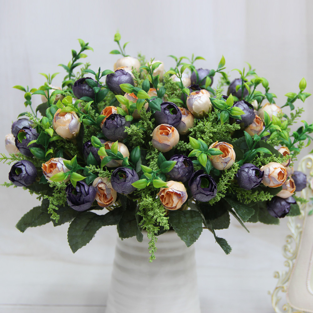 2016 New Beauftiful 12 Head Rose Tea Bud Bouquet Pearl Flower Artificial Silk Flowers Party Home