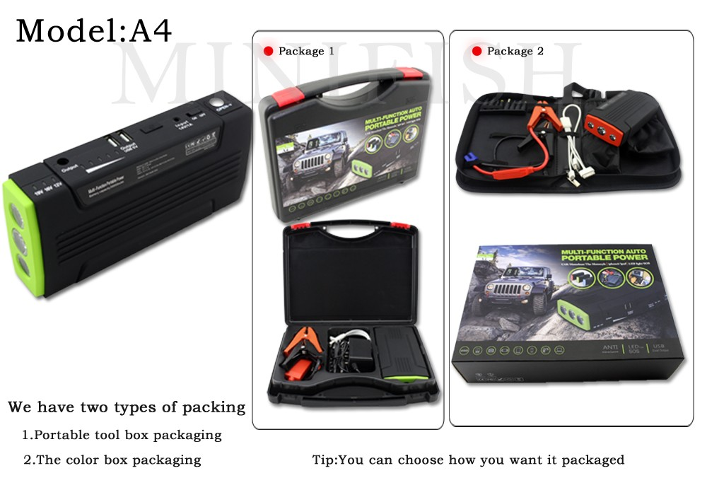 Portable Mini Multifunction AUTO Emergency Start Battery Charger Engine Booster Car Jump Starter Power Bank For 12V Battery Pack