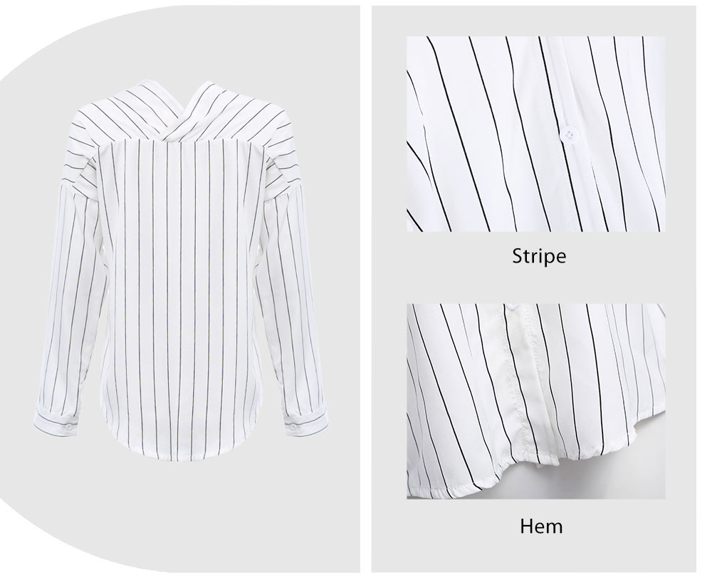 VESTLINDA Shirt 2017 Summer White Stiped Shirt Women V Neck Off Shoulder Top Blusas Long Sleeve Button Cotton Sexy Casual Shirts 13
