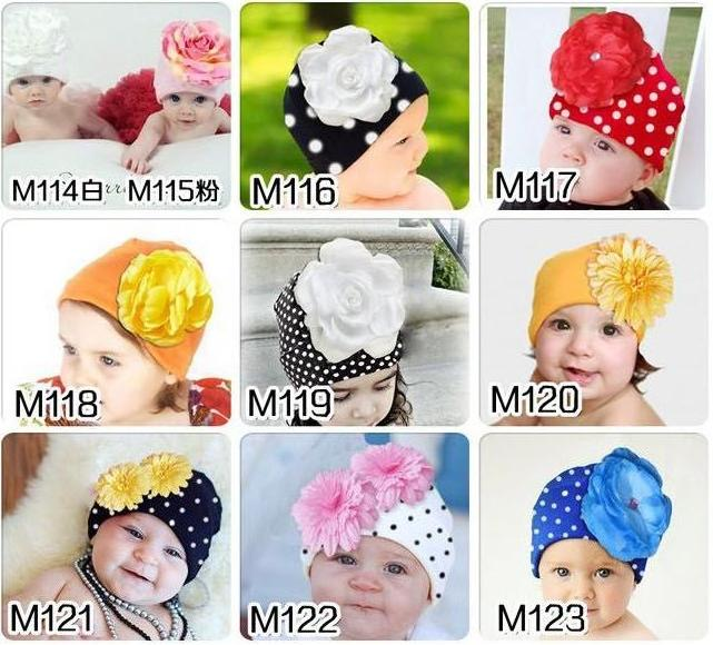 cotton Baby girls Big Floral Beanie dot boys cap chapeu bebes hat D4(China (Mainland))