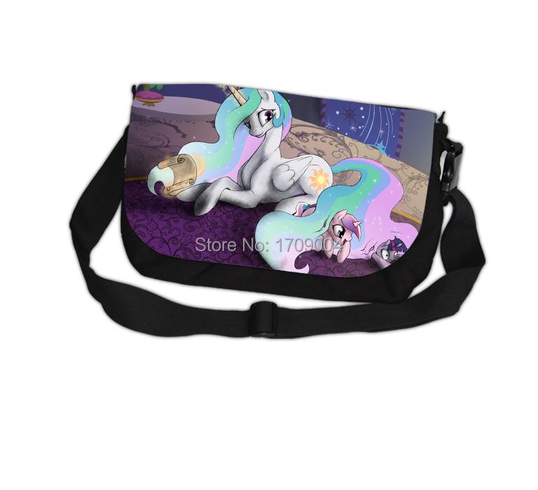 Free Shipping Anime Manga My Little Pony: Friendship Is Magic Messenger Bag 39*24cm Rainbow Horse Women Men Bag 007(China (Mainland))