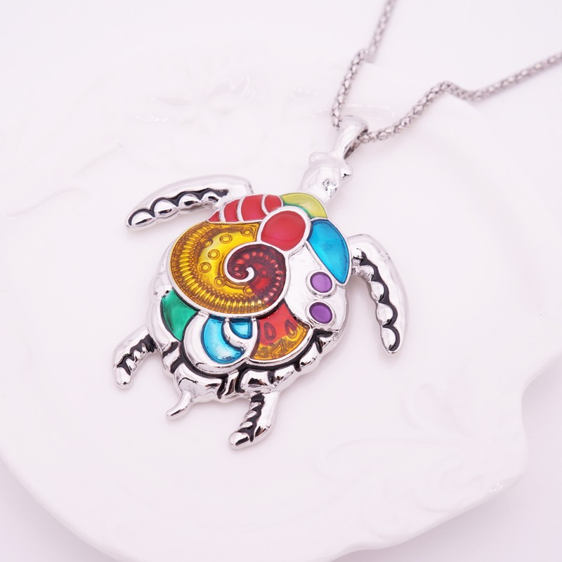 Enamel Turtle Jewelry Sets For Women Gold Plated Turtle Animal Necklace Earring Set Vintage Ethnic Sea Jewelry