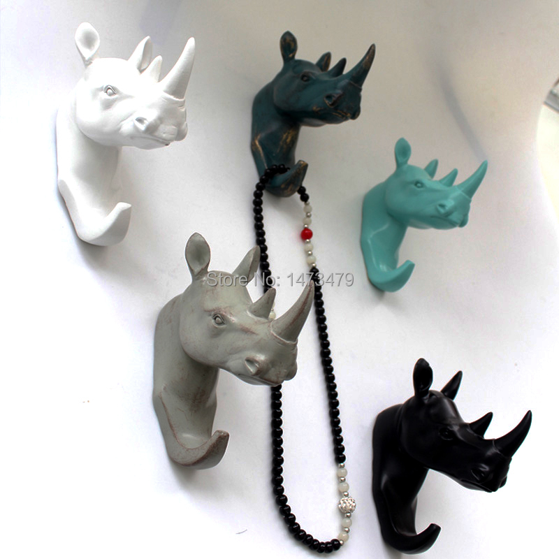 Leisurely to see the rhino animal resin retro wall hook key ideas behind the door hooks European-dimensional wall decoration(China (Mainland))