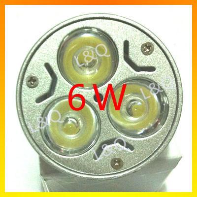free shipping 10pcs 6w e27 e14 gu5.3 mr16 cree spotlight led lamp 3x2w led light for wall lamp,floor lamp,night light,(China (Mainland))