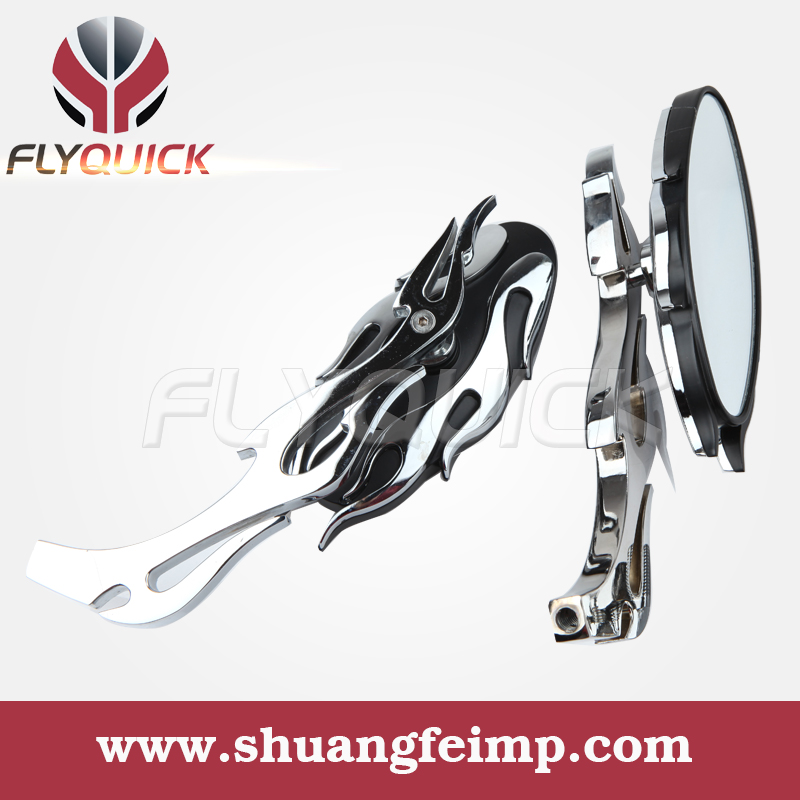 FLYQUICK BLACK CHROME FLAME OVAL UNIVERSAL CUSTOM MOTORCYCLE SIDE VIEW MIRRORS FOR HONDA SUZUKI CRUISER CHOPPER - ONLINE SHOP store