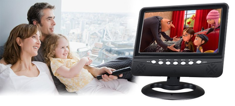 Free Shipping 7inch TFT LCD Color Portable TV With Wide View Angle Support SD/MMC Card USB Flash Disk Televisions(China (Mainland))