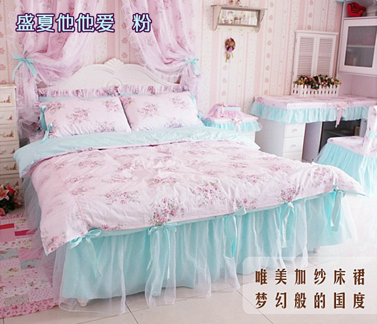 100% cotton pastoral 3pcs/4pcs Princess children girl floral bedclothes comforter/duvet cover set Twin/Full/Queen/King/B3021(China (Mainland))