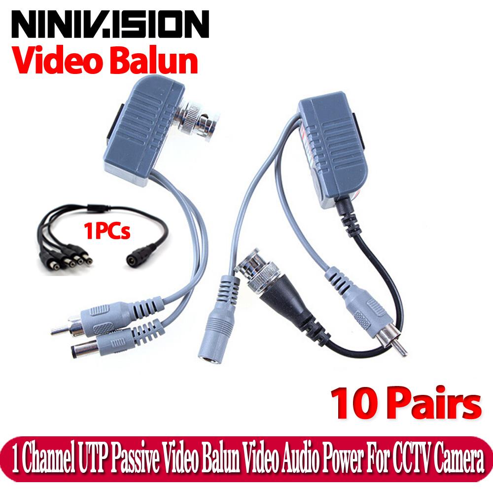 Hot UTP CCTV BNC video Balun power Passive Balun Rj45,POE Power Video Audio 3 in 1 Transceivers CCTV spare parts free shipping(China (Mainland))