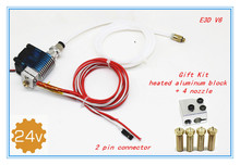 3D Printer J-head Hotend with  Fan for 1.75/3.0mm 24 v E3D v6 Direct Filament Wade Extruder 0.2/0.3/0.4mm Nozzle+Volcano kit