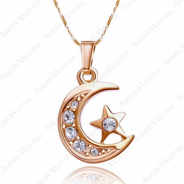 6Pieces a lot,New Arrival 2015 Moon Necklace,18K Gold Plated Moon&Star With Rhinestones Pendant Necklace Moon Necklaces N042R1(China (Mainland))