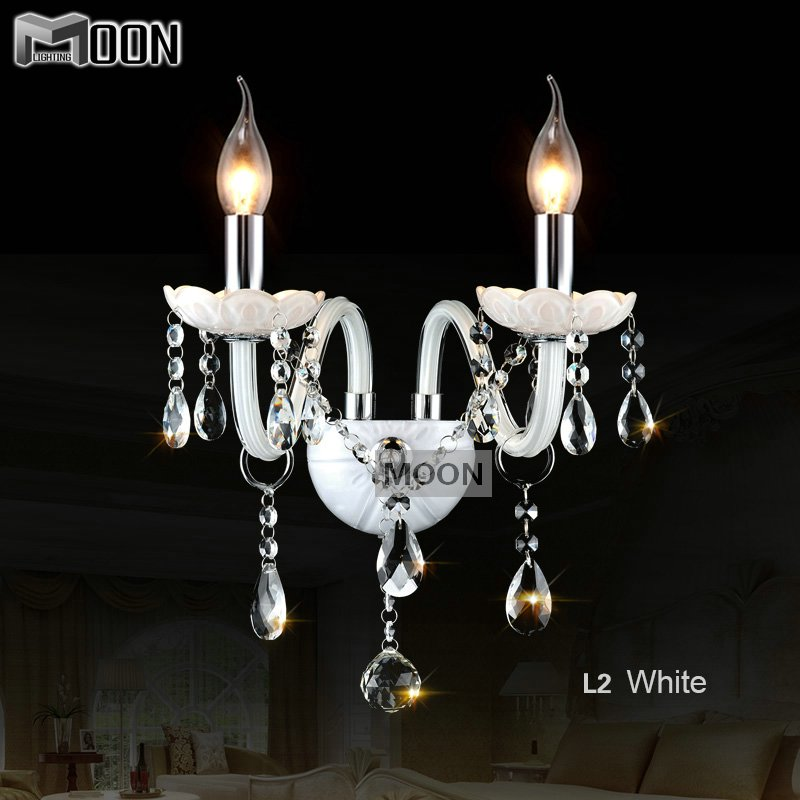 2 lights Crystal wall lighting fixture Vintage Glass wall sconces White crystal wall lamp for ...