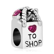 Free shipping 1PC Pink Enamel Rhinestone Antique Shopping Bag Bead Charms Fits Pandora Style Charm Bracelets(China (Mainland))