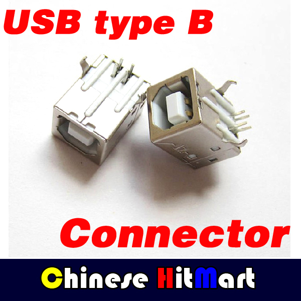 Type B  D font socket USB Female connector print socket 90 degrees square with best quality 100pcs/lot Free shipping #J038<br><br>Aliexpress
