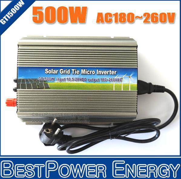 500W Watt Micro Grid Tie Inverter Accept DC 10.5-28V Solar Power Pure Sine Wave AC Output 180-260V(China (Mainland))