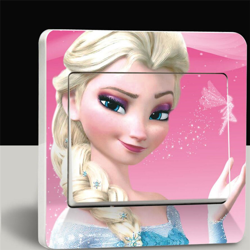 Self-adhesive film cartoon living room home decor girl princess wall stickers affixed child movable PVC Switch Sticker(China (Mainland))